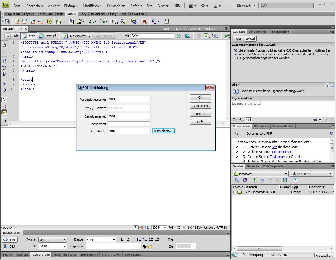 Die Dreamweaver zu MySQL Verbindung erstellen und eine Vorlagendatei ...