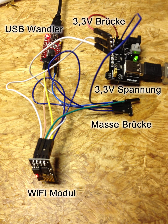 ESP8266 USB VCC Verkabelung