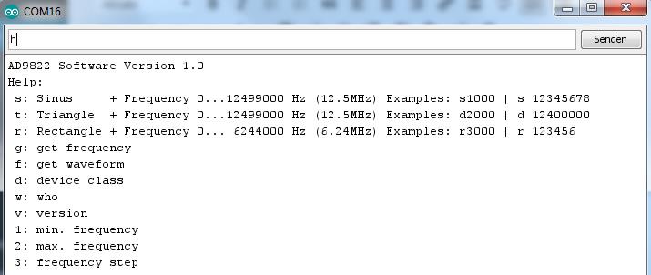 AD9833 Frequenzgenerator mit dem Arduino programmiert und